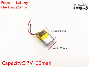 Image 2 - Литий полимерные аккумуляторные батарейки для Mp3, MP4, MP5, bluetooth, 5 шт./лот, 3,7 В, 60 мАч, 501215