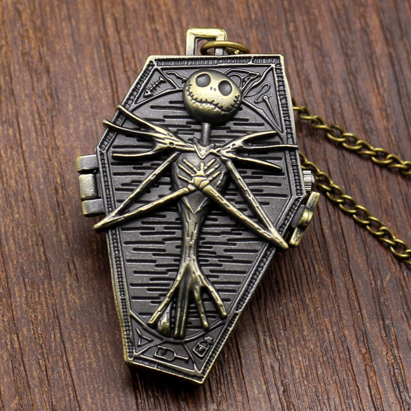 The Burton's Nightmare Before Christmas Theme Pocket Watch Coffin Skull Case Design Fob Pendant Necklace Watches For Children