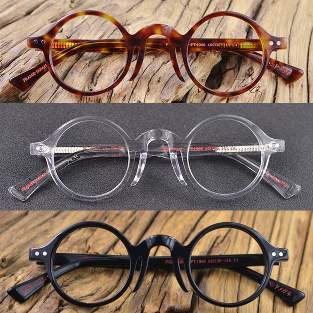 Vintage Small Round 40mm Eyeglass Frames Hand Made Acetate Full Rim Able