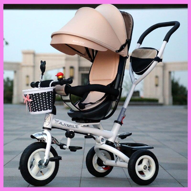 Обратный ручка малыш ребенок Сталь вращающееся сиденье трехколесная коляска велосипед Ба ...