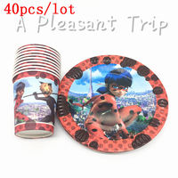 40pcs Lot Disposable Tableware Cups Plates Set Miraculous Ladybug Theme For Boys Birthday Party Supplies Kids