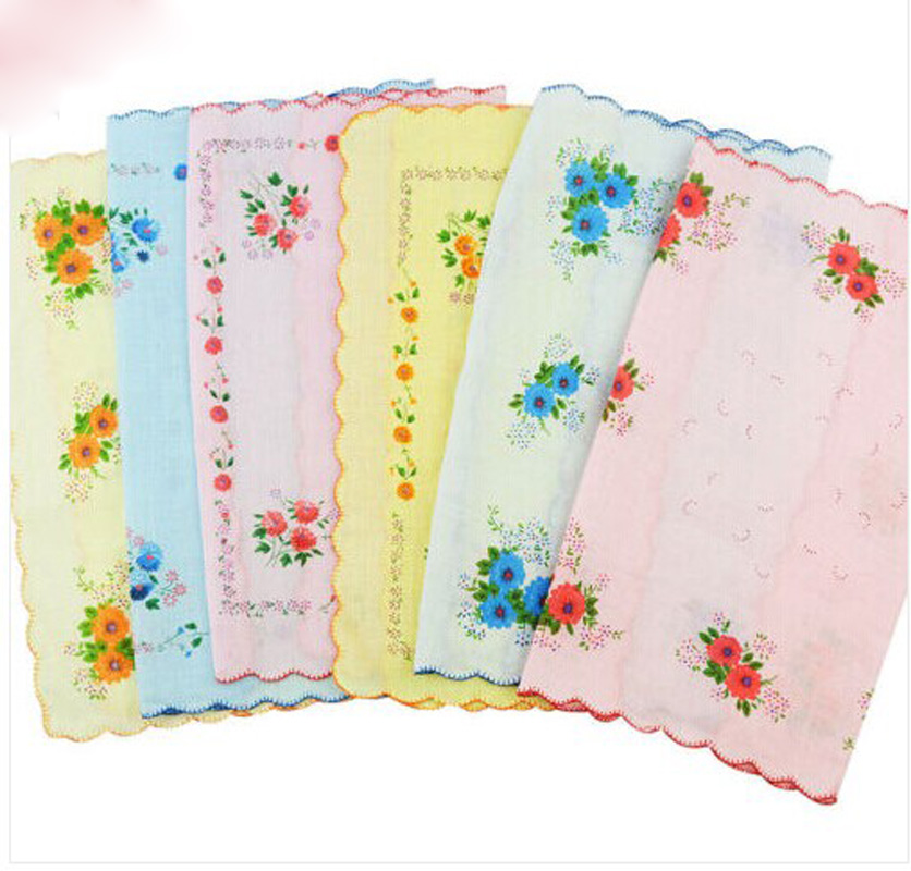 12PCS/lot Women Wash Cloth Towel Ladies 100% Cotton Handkerchief Dinner Food Face Cloth Colorful With Flower Print 30*30cm