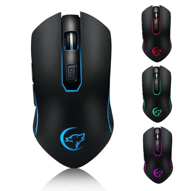 f3e557f8a 2.4G Wireless Mouse Rechargeable Slient Buttons Computer Mouse 6 Buttons  2400DPI Optical Gaming Mouse for PC Laptop