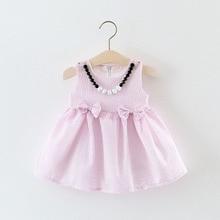 WYNNE GADIS Summer Baby Girls Sleeveless Striped Bow Tutu Sundress Princess Party Kids Dresses + Necklace vestido infantil