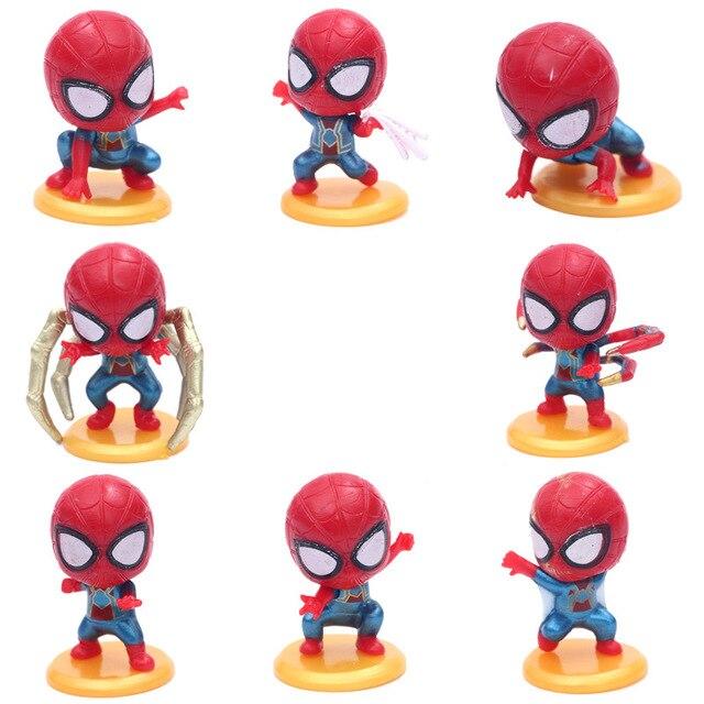 8 pçs/set Marvel Avengers Spiderman Bonito Decoração Do Carro Figura Coleção Modelo Brinquedos