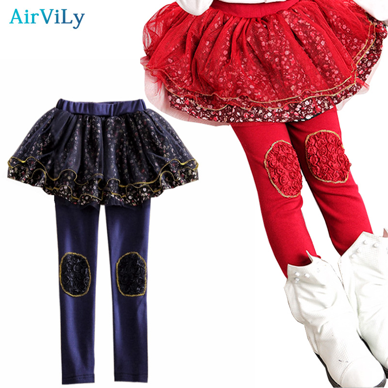 Kids Skirt Pants Cake Skirt 2016 Autumn Girls Leggings Lace Floral Printed Kids Skirt Leggings Slim