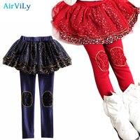 Kids Skirt Pants Cake Skirt 2016 Autumn Girls Leggings Lace Floral Printed Kids Skirt Leggings Slim