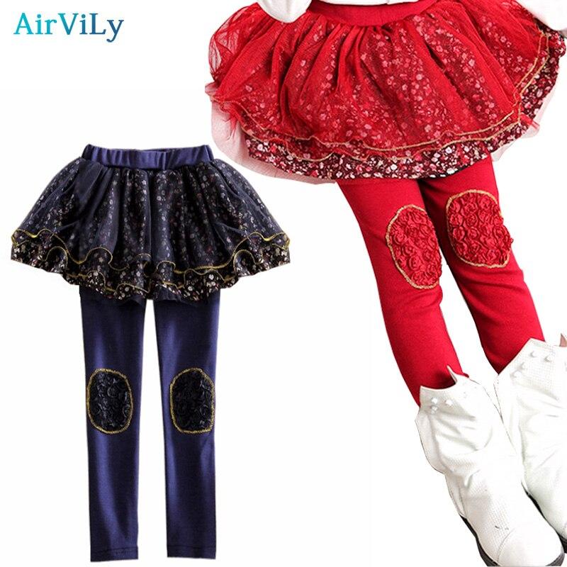 Kids Skirt-Pants Cake Skirt 2018 Spring Autumn Baby Girls Leggings Lace Floral Printed Slim Pants Children Cotton Tutu Trousers contrast binding slit hem printed skirt