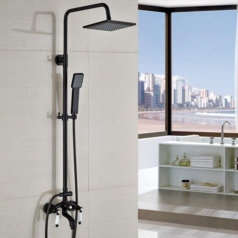 Modern Dual Handles Bath Shower Mixer Taps Wall Mount 8 Rainfall Shower Faucet Set with Handshower