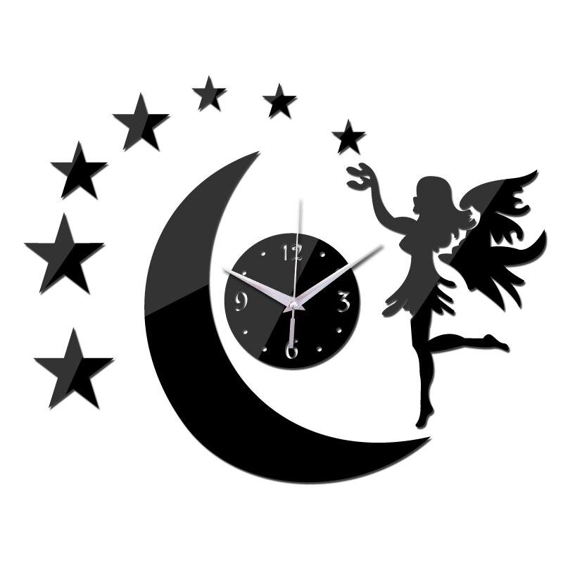 2016 new Black wall clock modern design Moon Elf mirror