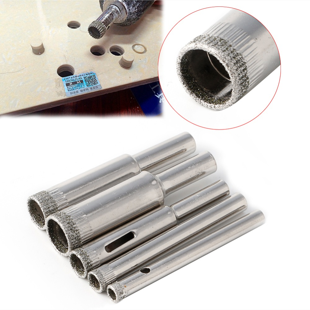 Hole Saw Drill Bits Set Tile Ceramic Cutter Glass Marble 5mm-12mm 5 Pcs Diamond 1 4 hex shank 3 4 5 6 8 10 12mm titanium coated glass drill bits set ceramic marble tipped hole drill tile set for woodworking