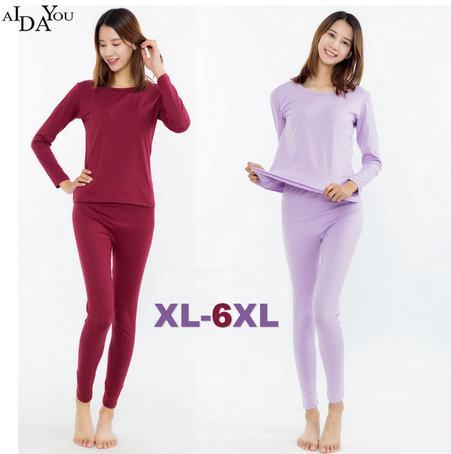 New Arrivals  Long Johns Plus Size 6xl Winter Autumn Women's Cotton Underwear Set Female Good Elasticity Soft Long Johns Ouc1744
