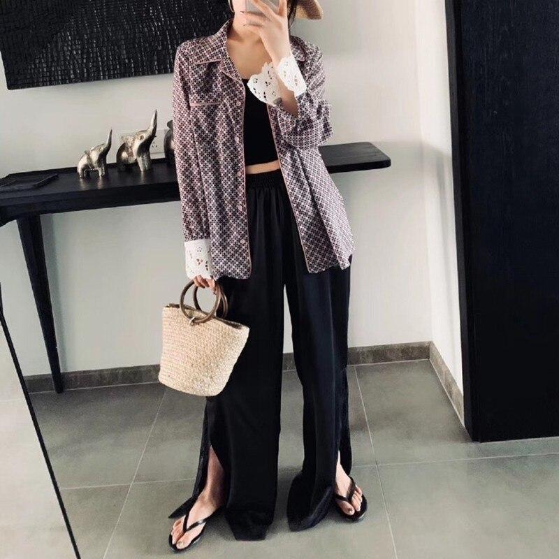 Revers Printemps Vgh Manches 2019 À Femmes Mode Patchwork Nouvelle Pink Mince De Longues Poches Ourlet Vêtements Bouton Vintage Chemise Marée Dentelle 0dpqdwxr