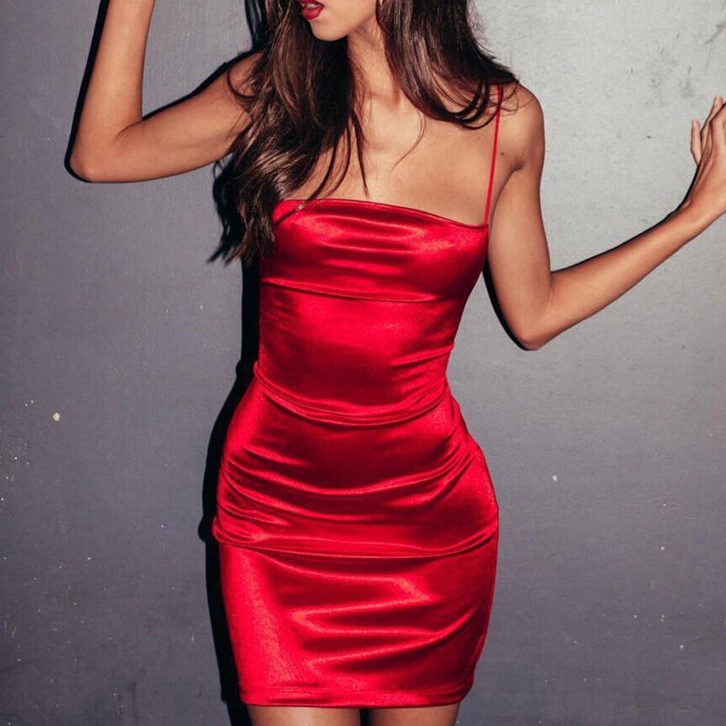 Summer Dress Sexy Womens Fashion One Shouder Satin Material Bind Hollow Long Sleeve Bodycon Slit Midi Dress
