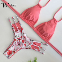 2018 Womens Flower Prints Bikini Sexy Padded Bikini Sets Push Up Swimwear Micro Swimsuit Bathing Suit