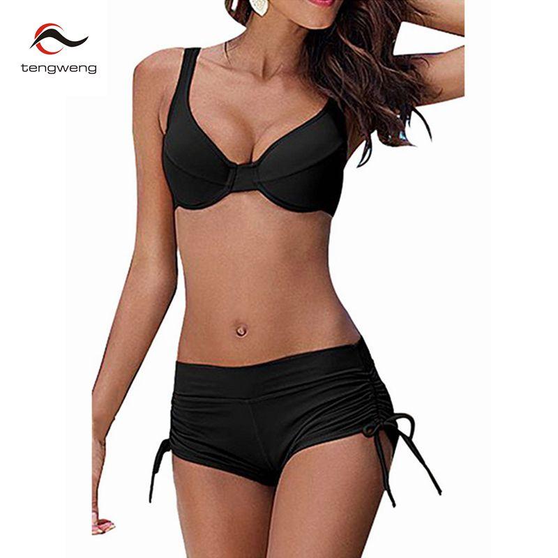 2017 Femmes Noir Push Up Bikini Ensemble Deux Pièces Tankini Maillot de Bain Sport Plus La Taille Maillots De Bain Grande Taille Haute Taille Maillot de bain Shorts