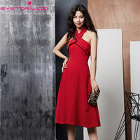 Summer halter backless sexy party dress women casual work office solid color midi formal dresses red evening vestido E6026