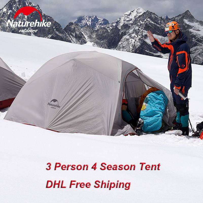 DHL Free Shipping Naturehike 3 Person 4 Seasons 210T 20D Silicone Fabric Camping Ultralight Outdoor Tent Aluminum Rod With Mat naturehike tent camping tent ultralight 1 2 3 person man 4 season double layers aluminum rod outdoor travel beach tent with mat