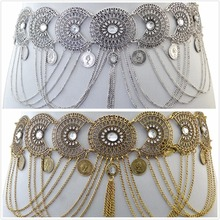 Wholesale 2 Colors Hollow Out Waist Chains Crystal Sexy Beach Belly Belt Body Chains Link Tassel Gypsy Women Coins Body Jewelry