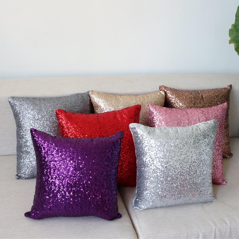 1pc modern design vintage pure color sequin home decorative sofa cushion cover room car seat decor