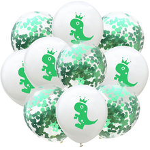 10pcs/set Dinosaur Latex Balloons Green Clear Confetti Party Decoration Supplies Kids Birthday Decors Ballons