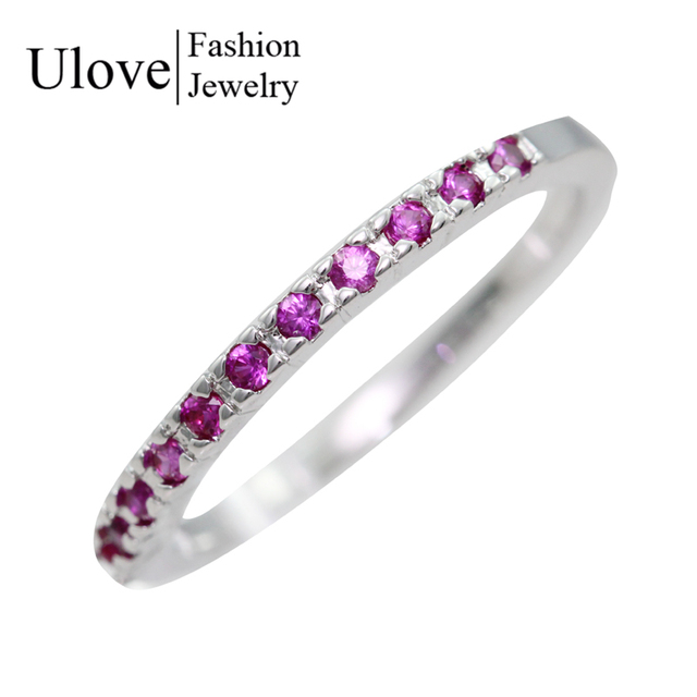 Women Fianit Cubic Zirconia Jewelry Vintage Purple Ring