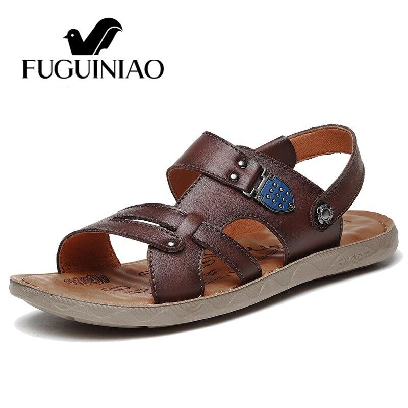 Ar Couro Retro Zapatos Sapatos Masculinos Casuais Genuíno Hombre Flats Lazer Homens Sandalia Sandálias Praia Black Livre Chinelos brown Ao De Verão Moda IPwqCq