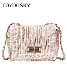 TOYOOSKY Straw Bag Women Summer Messenger Handmade Woven Beach Bohemian Handbag New Fashion Pearl Lady Crossbody