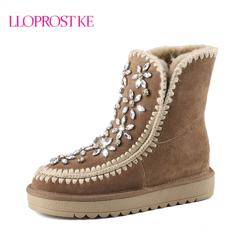 LLOPROST KE Women Ankle Boots Increased Thick Bottom Warm Wool Winter Snow Boots Black Brown Round Toe Women Boots Shoes ML046 раздельный купальник victoria s secret купальник vs 303