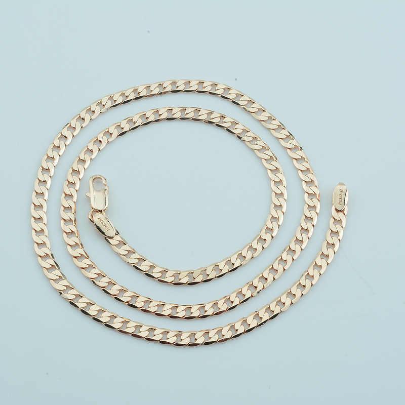 1pcs 4mm 45cm-55cm Necklace Men Women Gold 585 Color Flat Curb Chains  Jewelry Wholesale Price