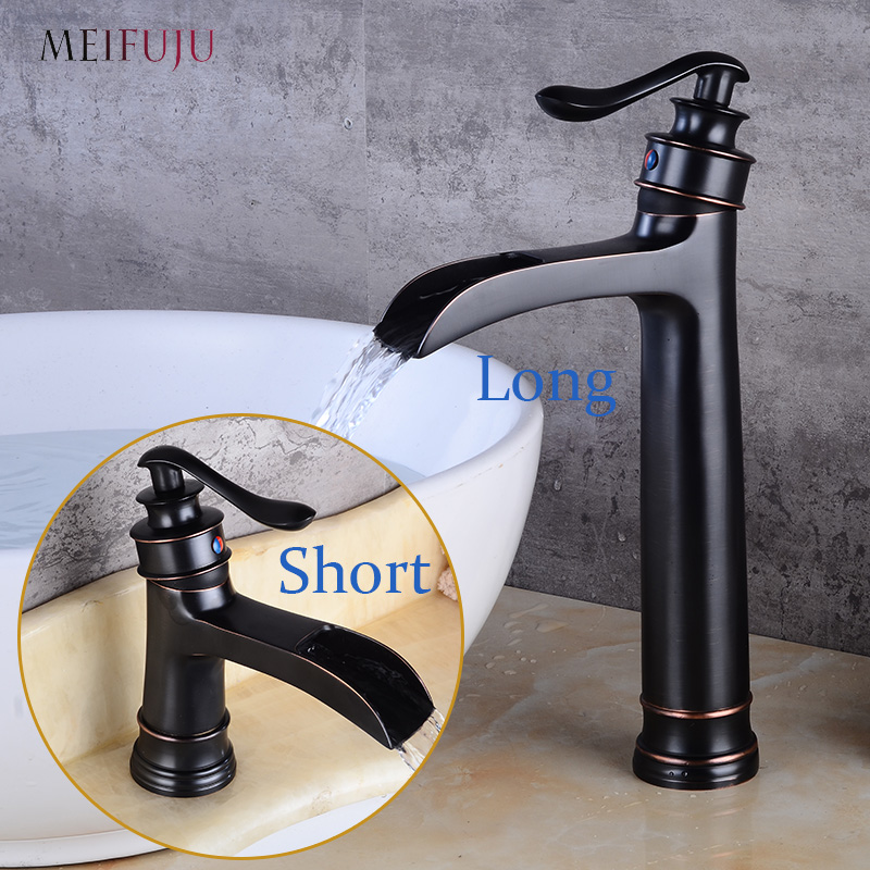MEIFUJU Waterfall Tall Bathroom Faucet Oil Rubbed Bronze Black Basin Faucet Bathroom Faucets Sink Water Mixer Tap Single Handle square bathroom sink faucet tall waterfall bathroom basin sink mixer tap oil rubble bronze black faucets