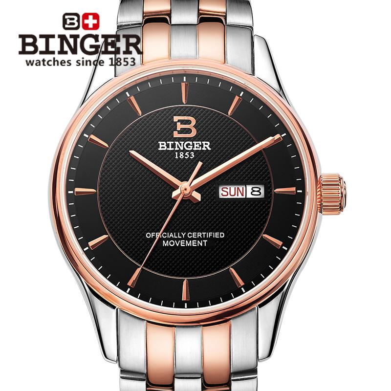Switzerland men s watch luxury brand BINGER luminous Automatic self wind full stainless steel Waterproof clock