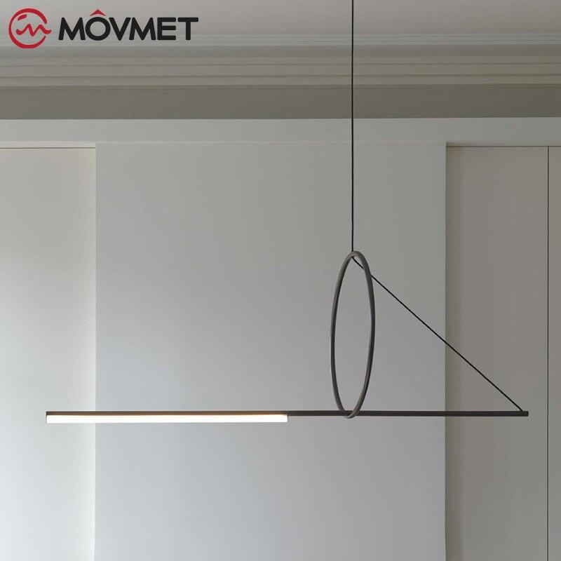 Moderne bref minimaliste créatif bois pendentif luminaire nordique décor à la maison chambre chevet droit noir fer suspension lampe