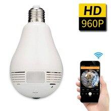 BabyKam Panorámica de 360 Grados de 960 P Inalámbrica WiFi Cámara IP Fisheye Lámpara Bombilla Mini 1.3MP Cámara de Seguridad Inicio de Vigilancia