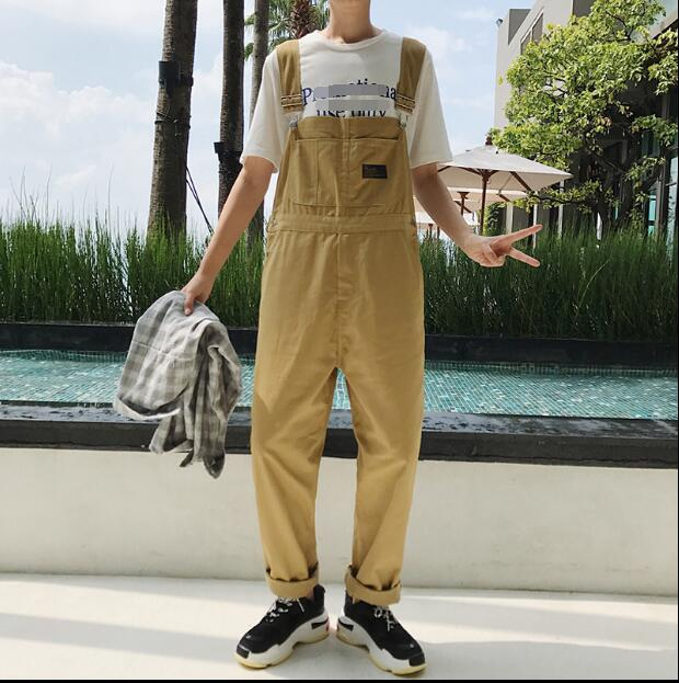 Spring and autumn new style pure color straight casual suspenders popular logo men's simple and loose temperament trousers