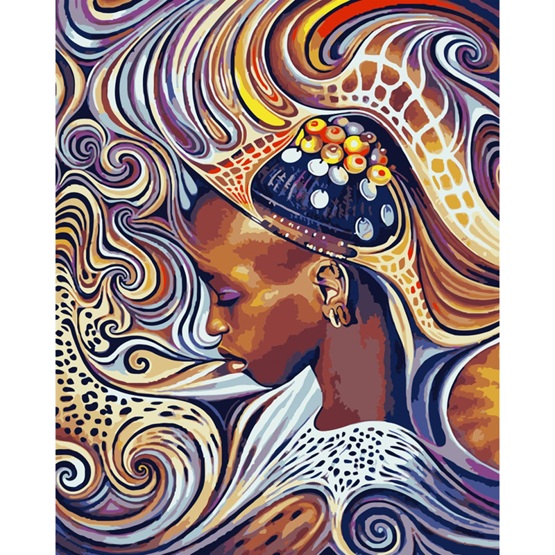 African Woman  Figure DIY Digital Painting By Numbers Modern Wall Art Canvas Painting Unique Gift Home Decor 40x50cm