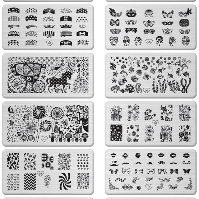 1pc stainless steel nail art stamping plate fashion patterns nails