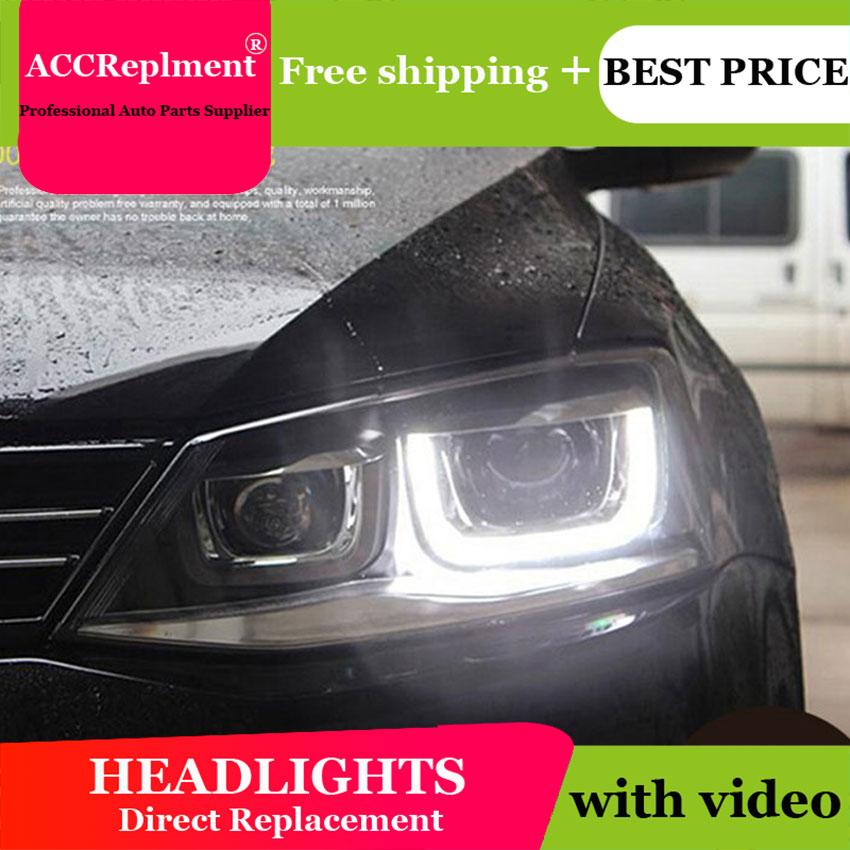 Car Styling JETTA MK6 Headlights 2011-2014 For VW JETTA LED Headlight angel eyes JETTA GLI LED drl H7 hid Bi-Xenon Lens low beam car styling for vw jetta headlights u angel eyes 2012 2017 for sagitar bi xenon double lens hid