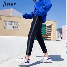 Jielur Korean Casual Trousers for Women 2019 Fashion Harajuku Hip Hop Harem Pants Silver Side Stripe Classic Capris M-2XL
