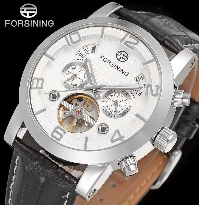FORSINING FSG165M3S3 neue Automatische mode kleid Männer uhr tourbillon silber armbanduhr für männer beste geschenk kostenloser versand-in Mechanische Uhren aus Uhren bei  Gruppe 1