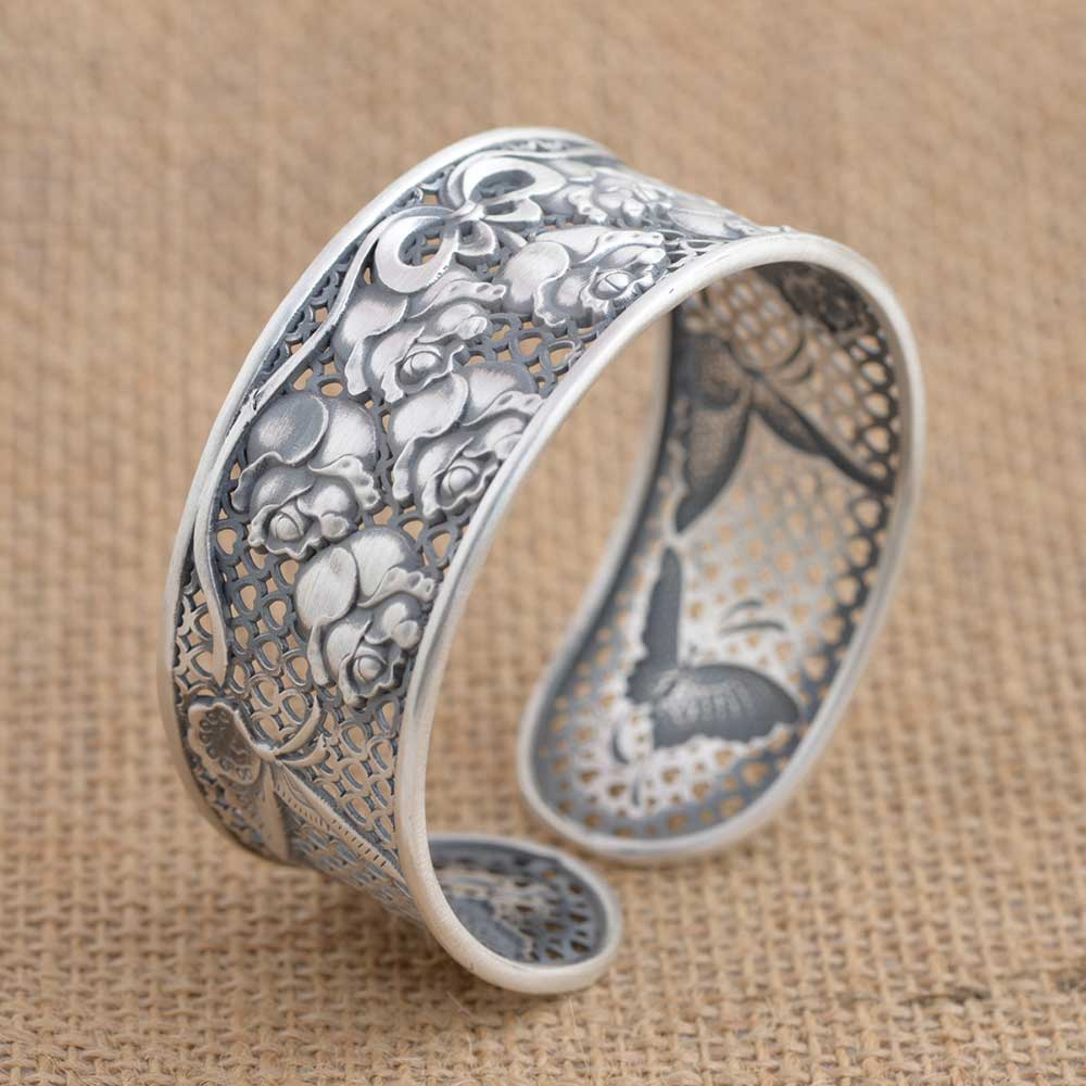 FNJ 925 Silver Flower Bangle New Fashion Butterfly Adjustable Size Original S925 Sterling Silver Bangles for