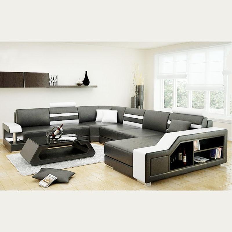 Sofa Set Size: European Style Custom Size Leather Sofa Set 7 Seater-in