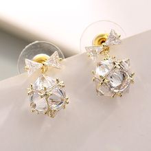 купить 1 Pair Dainty Faceted Crystal Ball Stud Earrings for Women Girls Sparkly Disco Ball Stud Earring Minimalist Everyday Jewelry по цене 277.46 рублей