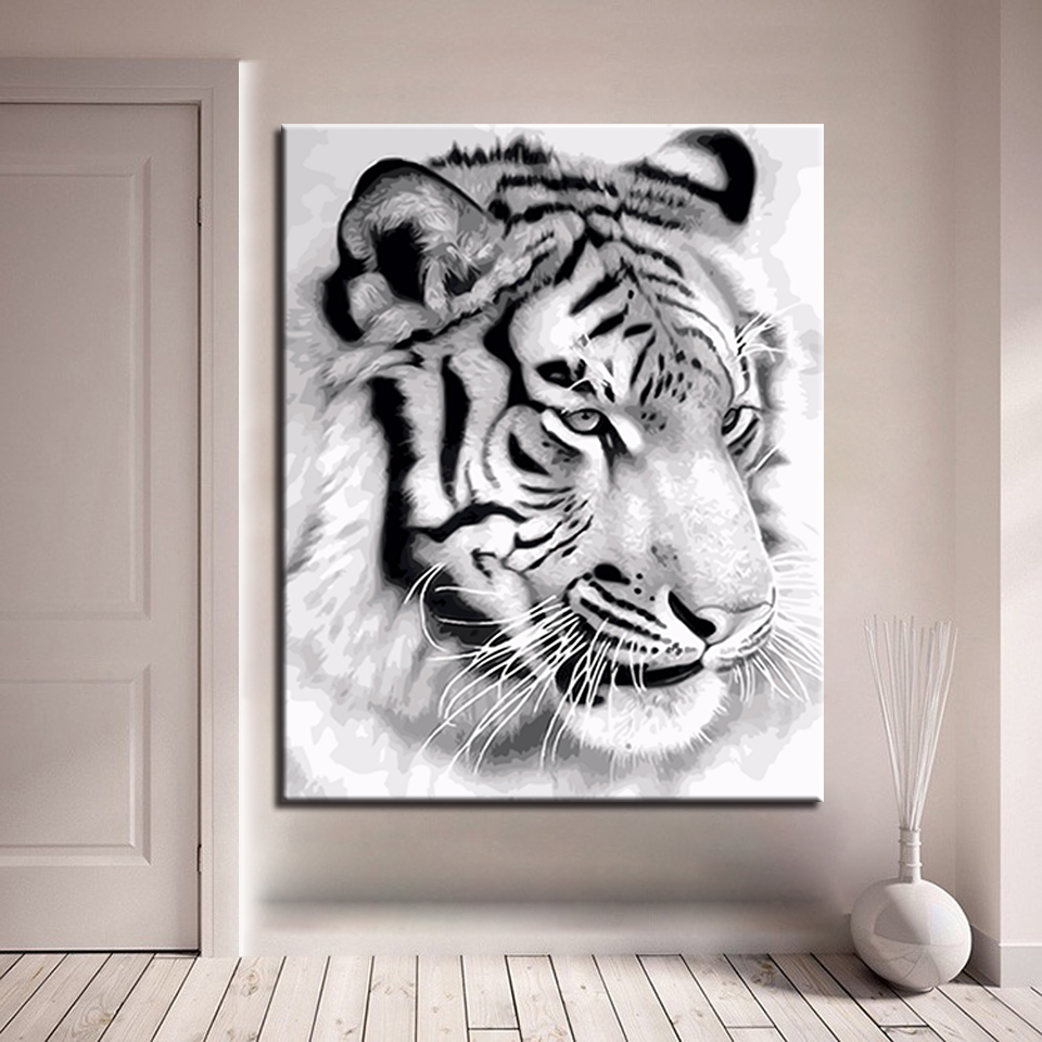 Us 9 08 32 Off Diy Handpainted Oil Paint By Numbers Draw Coloring Pictures Black White Tiger On Modular Canvas Framed Wall Art Painting Paints In