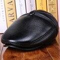 2015 moda de luxo 100% de pele de carneiro genuína boina de couro marca chapéus para homens inverno quente engrosse hat gorras chapéu osso