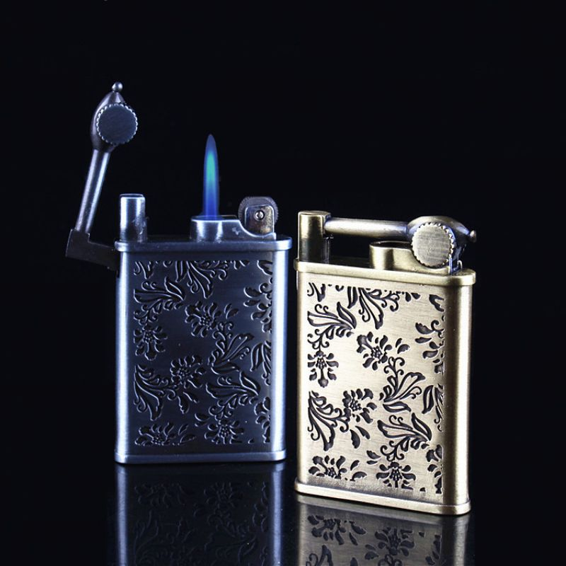 retro flower carved antique style crafted flint wheel refillable windproof cigarette lighter