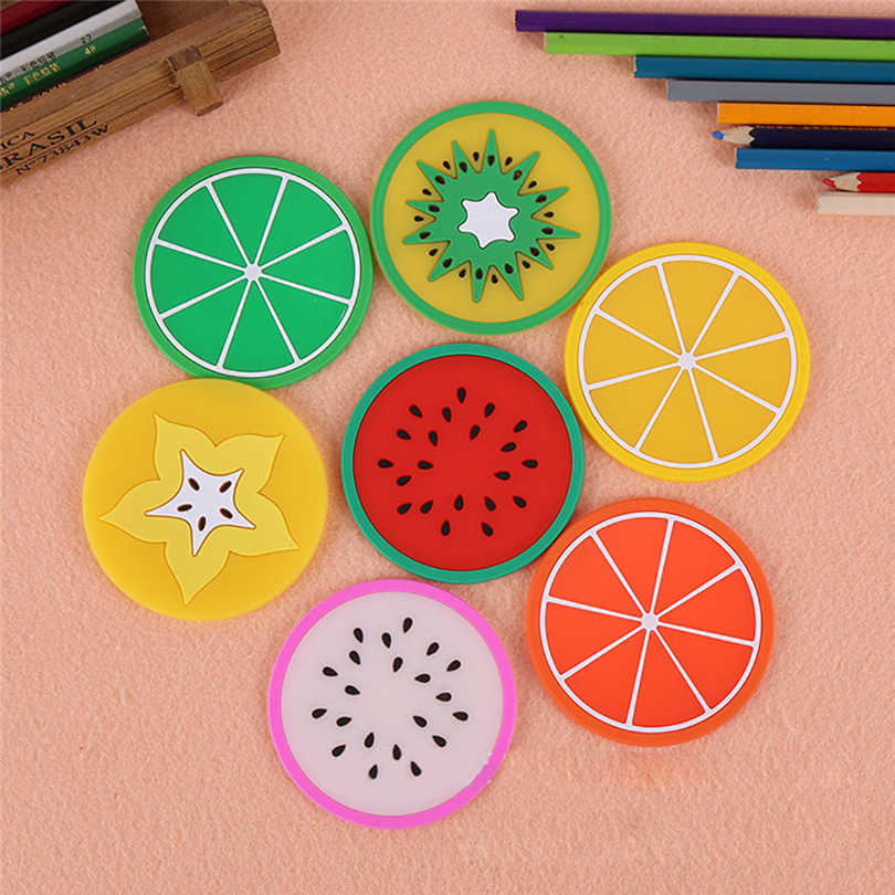 10 Pcs Silicone Dining Placemat Colorful Fruit Mug Mats Pads Coffee Tea Cup Glasses Holder for Bar Party Decor Accessory