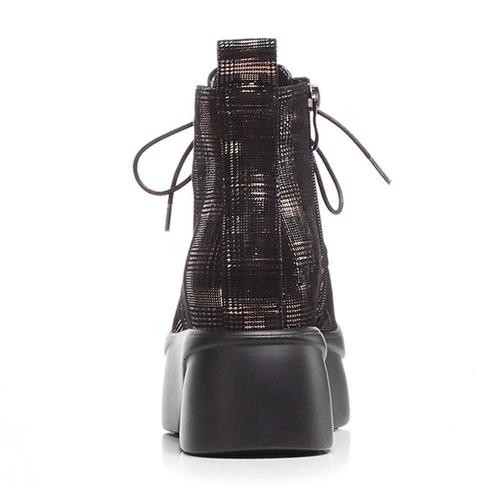vera Piattaforma pelle stivali Doratasia caviglia 2018 scarpe aumento con donna nero Martin zip tacchi in donna 5XnSHwq