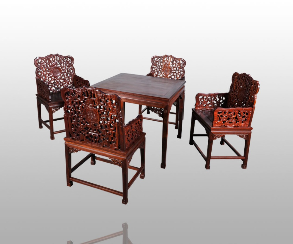 Top Quality Dining Living Room Furniture Rosewood 1 Table &4 Chair Set Redwood Backed Armchair Solid Wood Desk Chinese Brand New classical rosewood armchair backed china retro antique chair with handrails solid wood living dining room furniture factory set