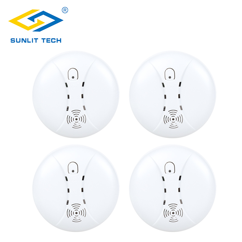 4pcs Wireless Smoke Detector Alarm for 433MHz Burglar Intruder Fire Smoke Sensor Wifi Alarm Systems For Household Security yobang security 433mhz wireless smoke sensor fire alarm smoke detector alarm for home garden security auto dial alarm systems